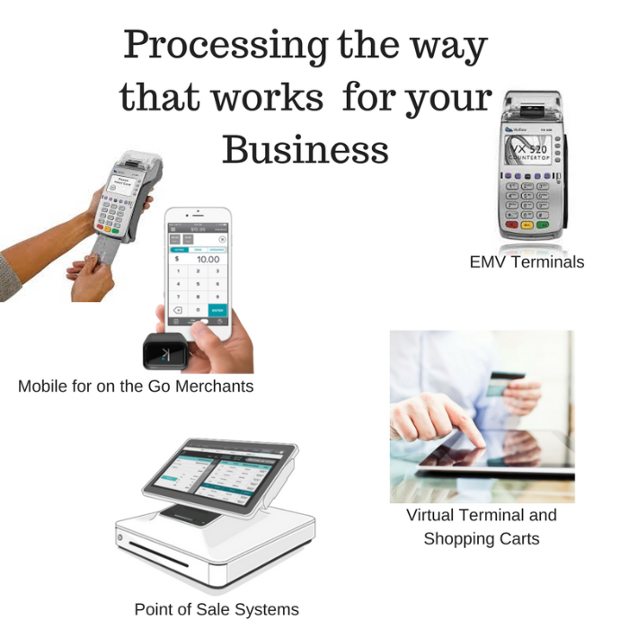 processing options such as EMV terminals, point of sale systems, mobile, etc.