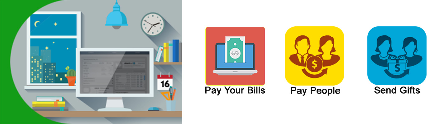 Image of computer and people - pay your bills, pay people, send gifts