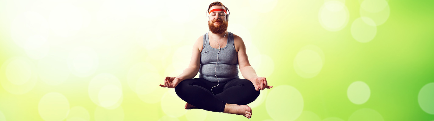 Guy in yoga pose relaxing